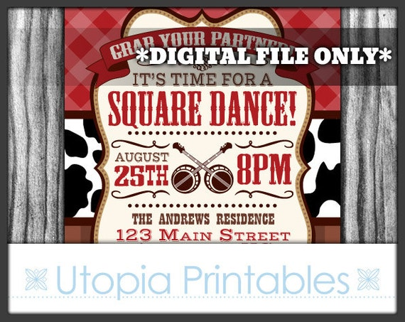 Square Dance Invitation Rustic Country Western Or Southern Theme