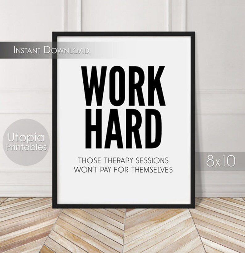 Work Hard Therapy Funny Printable Work Wall Art Workplace image 0
