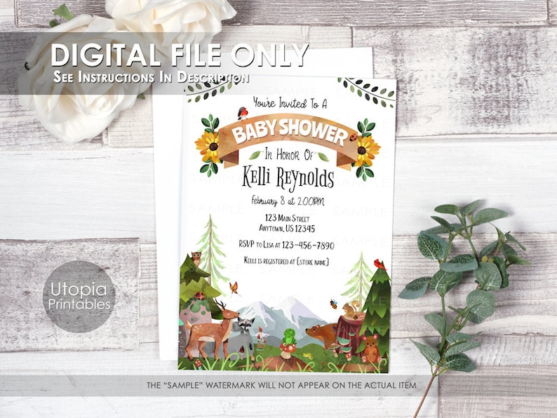Printable Woodland Baby Shower Invitation Watercolor Forest image 0