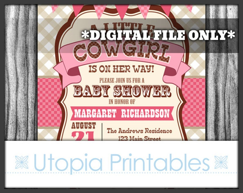 Little Cowgirl Is On Her Way Baby Shower Invitation Girl Party image 0