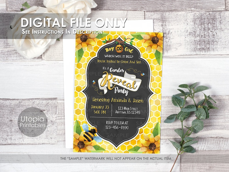 Printable Bee Gender Reveal Invitation Boy Or Girl Which Will image 0