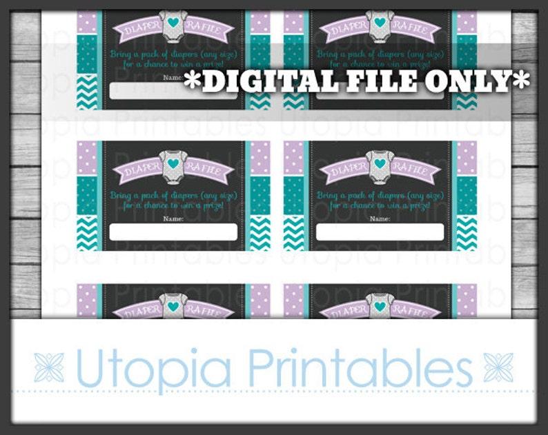 Diaper Raffle Card Ticket Insert Cute Teal Purple Gray Chevron image 0