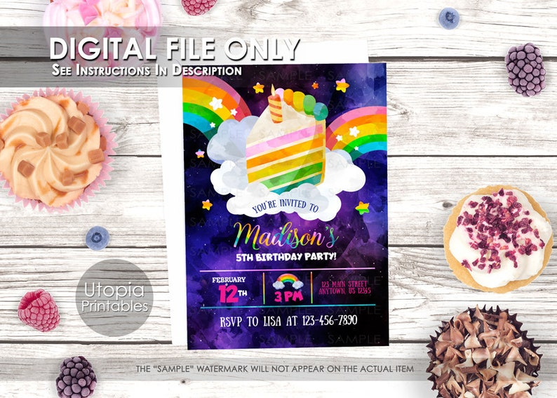 Rainbow Birthday Invitation Dessert Food Rainbow Cake Theme image 0