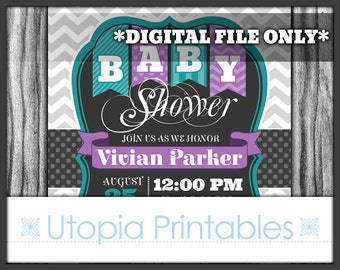 Teal Purple Gray Baby Shower Invitation Chevron Polka Dots Polkadots Theme Digital Printable Customized 5x7 Dark Grey White Turquoise DIY