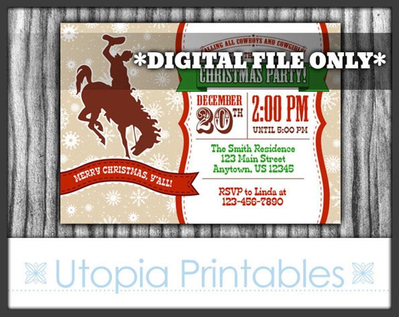 Cowboy Christmas Invitation Country Western Theme Holiday Xmas image 0