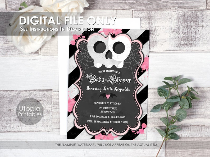 Printable Goth Baby Shower Invitation Skull Pink Black Stripes image 0