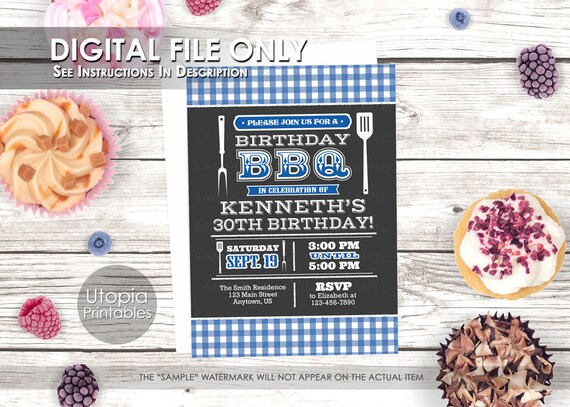 Blue BBQ Birthday Invitation Barbeque Cookout Contemporary Modern Typography Party Adult Digital Printable 5x7 Dark Grey White
