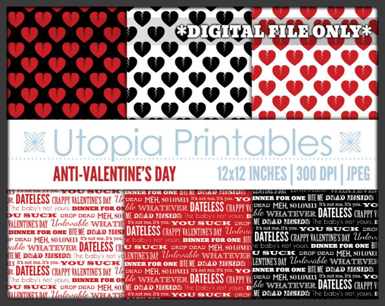 Anti-Valentine's Day Digital Paper Funny Humor Theme Text image 0