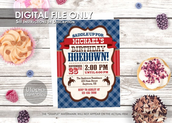 Birthday Hoedown Invitation Cowboy Theme Party Rustic Style Rodeo