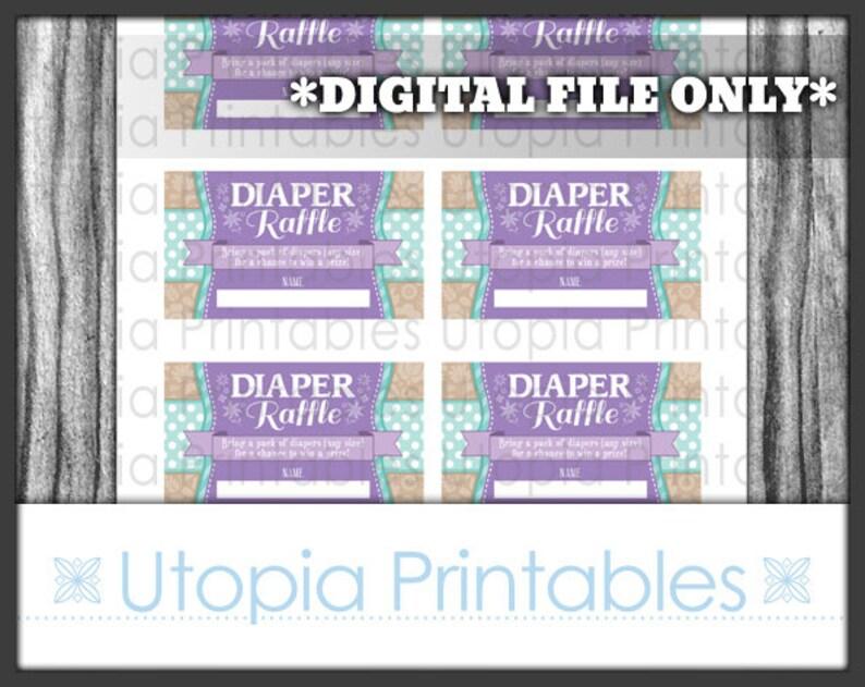 Teal Purple Flower Diaper Raffle Ticket Card Insert Baby image 0