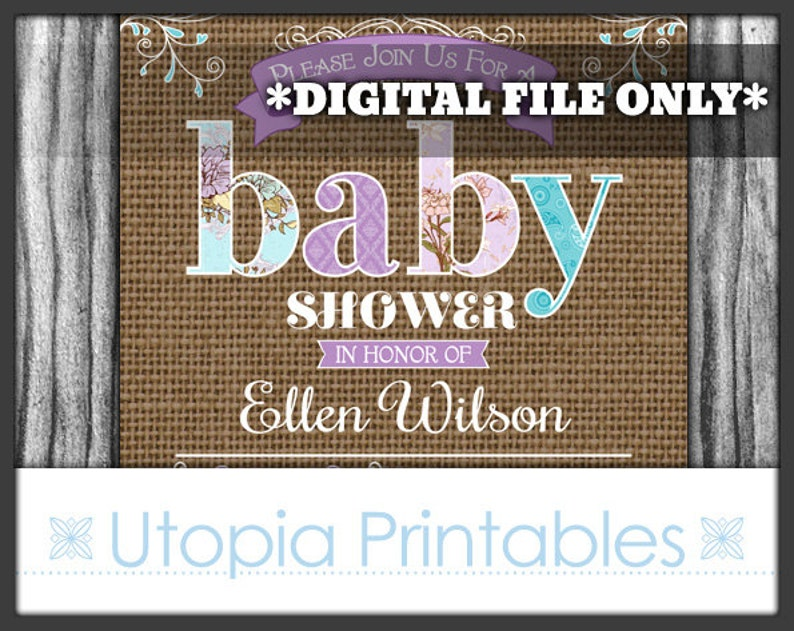 Rustic Burlap Baby Shower Invitation Teal Purple Country Theme image 0