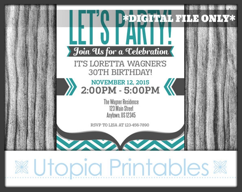 Teal Gray Chevron Let's Party Birthday Invitation Modern image 0