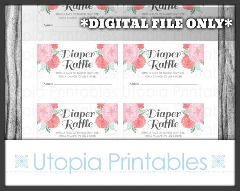 Watercolor Diaper Raffle Tickets Coral Pink Mint Baby Shower image 0