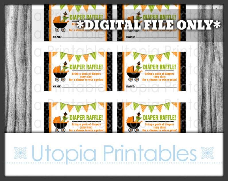 Halloween Little Monster Diaper Raffle Ticket Card Insert Baby image 0
