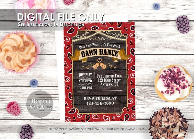 BARN DANCE Invitation Rustic Country Western Or Southern Theme image 0
