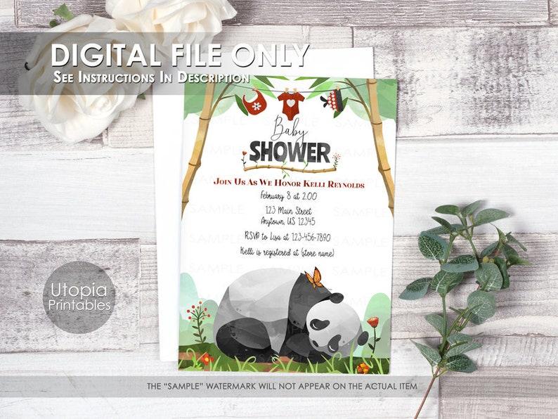 Printable Sleeping Panda Baby Shower Invitation Watercolor Red image 0