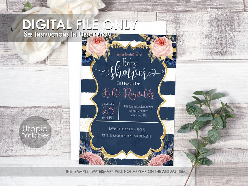 Printable Striped Pink & Navy Blue Baby Shower Invitation image 0