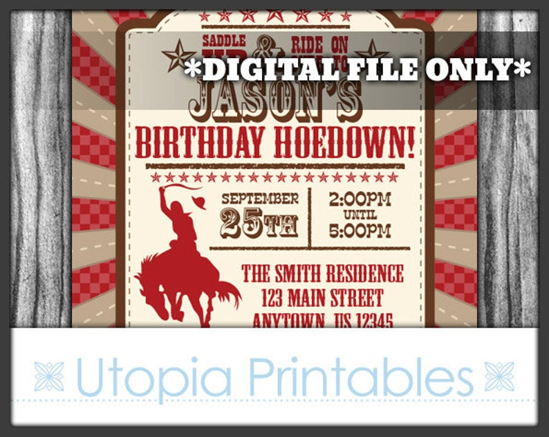 Cowboy Birthday Invitation Hoedown Theme Party Rustic Rodeo image 0