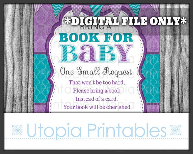 Damask Book Request Card Insert Baby Shower Teal Purple Theme image 0