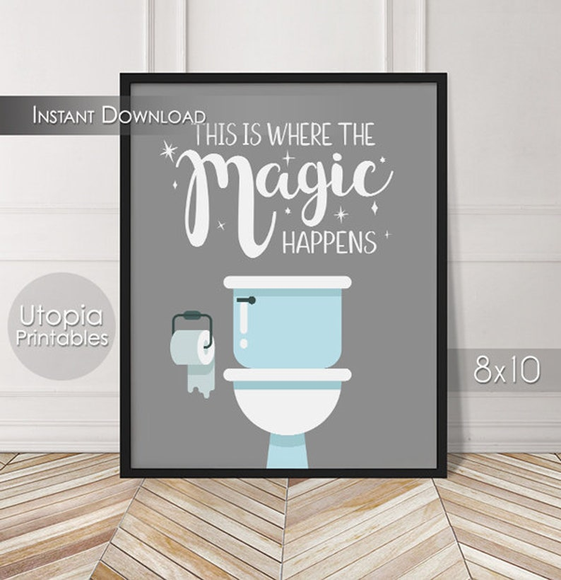 This Is Where The Magic Happens Printable Bathroom Sign Wall image 0