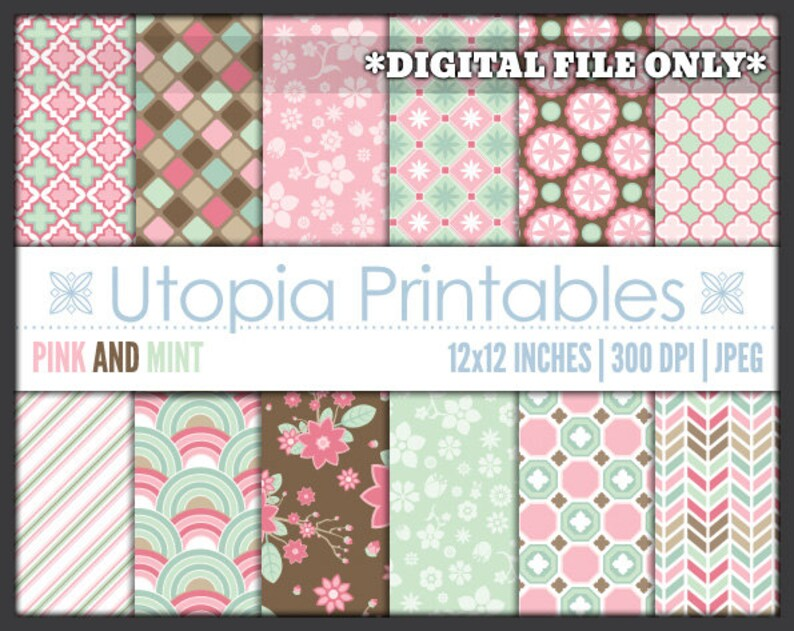 Pink And Mint Green Digital Paper Pack Set Digiscrap image 0