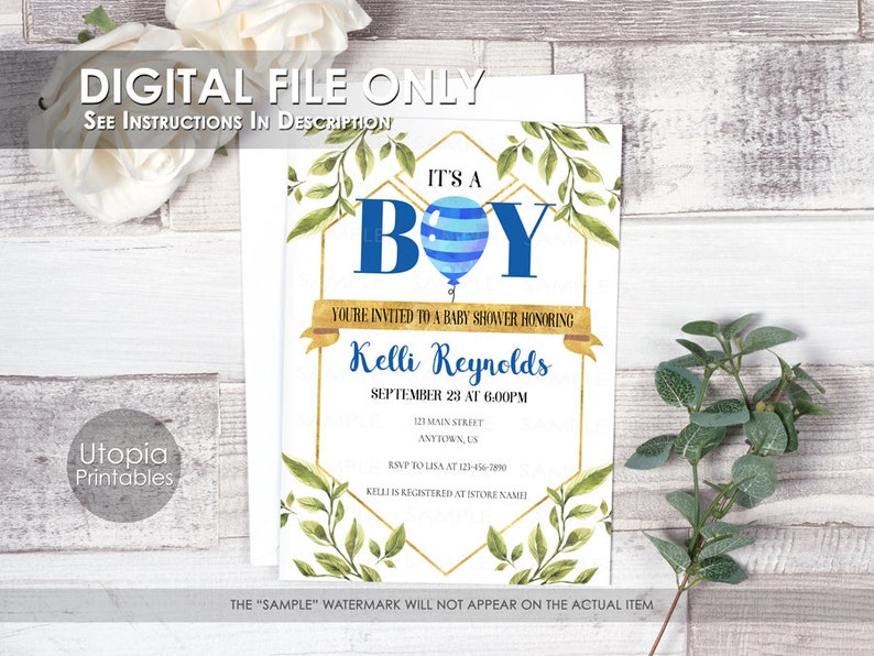 Printable It's A Boy Baby Shower Invitation Greenery image 0