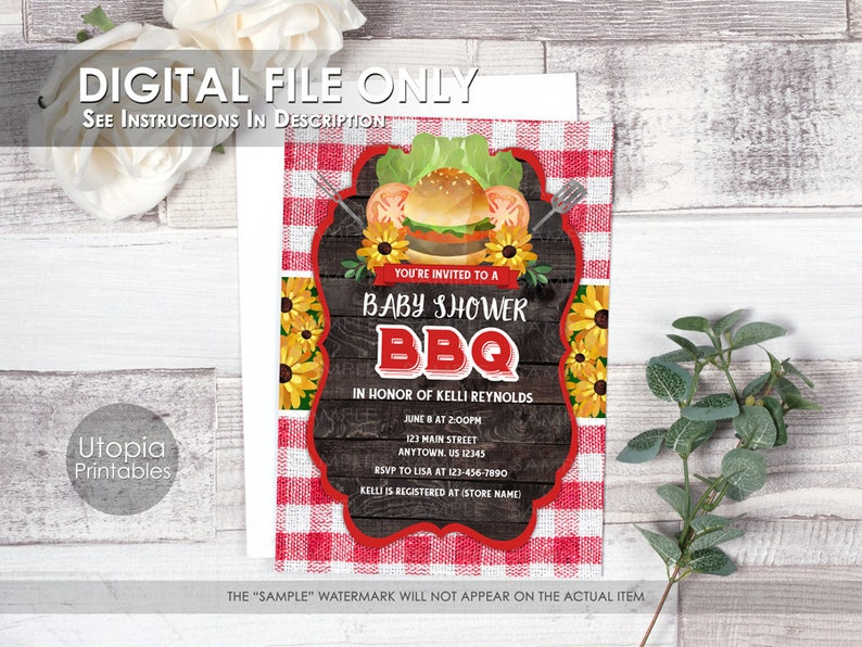 Baby Shower BBQ Invitation Barbeque Barbecue Cookout Hamburger image 0