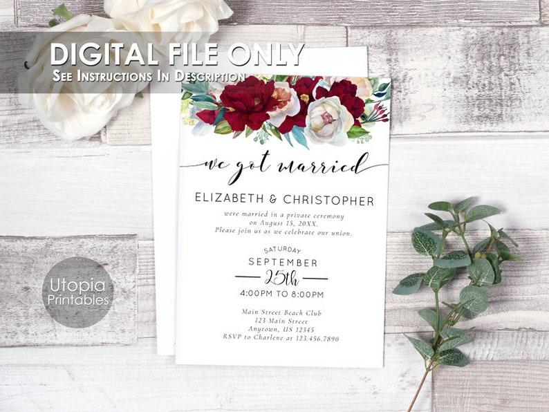 Printable We Got Married Red Burgundy Marsala Flowers Modern image 0
