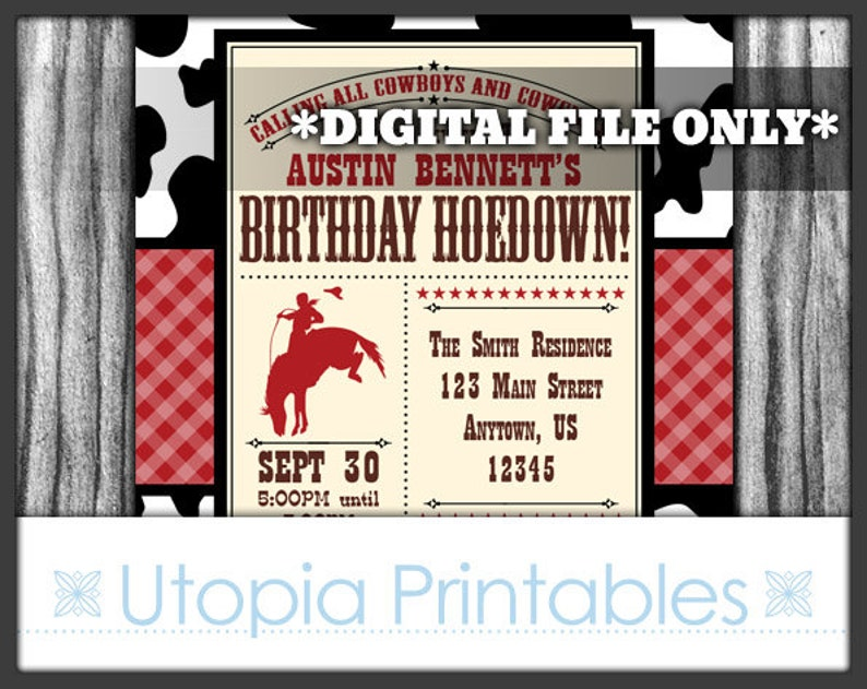 Birthday Hoedown Invitation Cowboy Theme Party Rustic Rodeo image 0