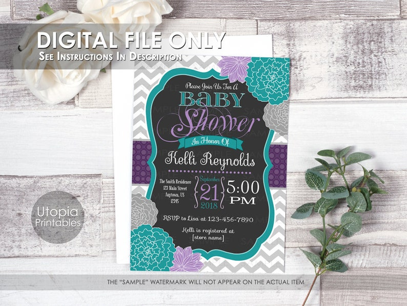 Teal Purple Floral Baby Shower Invitation Chevron Flowers image 0