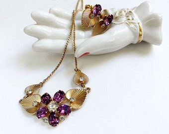 Vintage Amethyst Necklace and Earrings Set, Van Dell 12K Gold Filled Jewelry, Purple Flower Demi Parure, February Birthday, 40s 50s