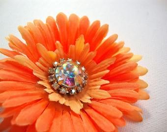 Orange Silk Flower Hair Clip, Gerbera Daisy, Fall Bridal Wedding Hair Flower, Fall Halloween Fascinator, Pinup Boudoir Photo Shoot