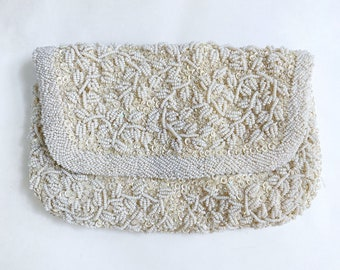 Vintage White Beaded Purse, Cream Hand-beaded Evening Bag, Ivory Wedding Bridal Envelope Clutch, Off-White Prom Purse Accessories, 1950s