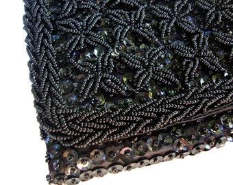 Vintage Black Beaded Clutch Purse, Mid Century Evening Bag, Bon Soir Handbag, Bridesmaid Gifts, Prom Accessories, 50s 60s, Holiday New Years