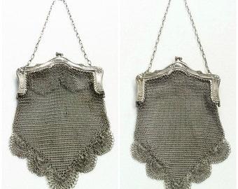 Antique Silver Mesh Purse, Victorian Handbag, Art Nouveau Evening Bag, German Silver Chain Maille, 1890s-1910, Bridal Accessories