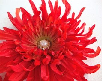 Red Silk Flower Hair Clip, Spider Mum, Wedding Bridal Hair Flower, Fall Halloween Fascinator, Boudoir Pin-Up Photo Shoot, Floral Pin Brooch