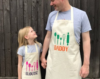 Personalised Baking Apron Set|Fathers Day|Mens Apron|Childs Apron|Kids Apron|Apron Set|Cooking Apron|Baking Apron