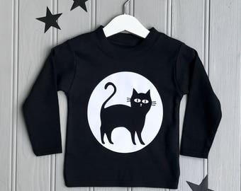 Cat Halloween Kids T shirt|Bat T shirt|Halloween Costume|Halloween T shirt|Halloween Gift|Halloween Outfit|Dressing Up|Cat T shirt