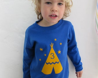 Birthday Age T shirt Teepee Print