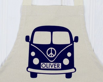 Personalized Camper Van Apron|VW Camper gift|Cooking Apron|Gift for Baker|kids apron|girls apron|boys apron|daddy apron|mummy apron|UK
