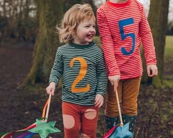 Age or Birthday Number T shirt Organic Cotton