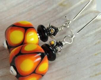HOT STUFF Handmade Lampwork Bead Dangle Earrings