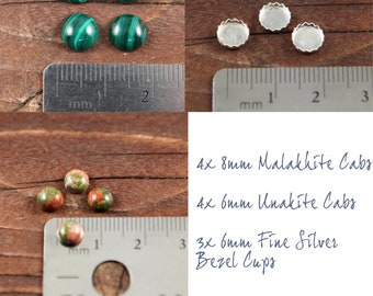 4x 8mm Malakhite Cabs 4x 6mm Unakite Cabs 3x 6mm Fine Silver Bezel Cups
