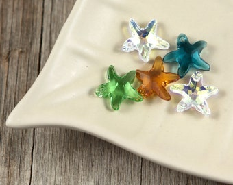 Lot of SEVEN Swarovski Crystals 17x16mm Faceted Starfish Beads