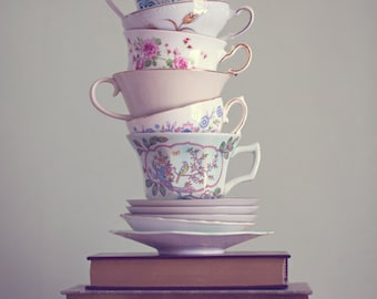 SALE, Fine Art Print, Teacup Art, Book Art, Pastel, Whimsical Art, Still Life Photo, Cafe Art, Wonderland, Kitchen Art, Book Photo
