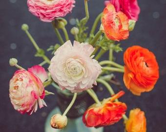 Fine Art Print, Ranunculus Flower Photo, Flower Art, Colorful, Garden Art, Floral Decor, Spring Wall Art, Botanical Print, Still Life Art