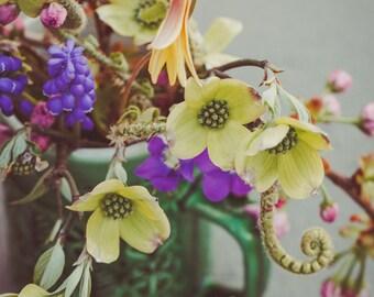 Fine Art Print, Spring Flower Art, Flower Photo, Botanical Decor, Cup of Flowers, Dogwood, Fern, Plum Blossom, Nature Print, Wild Flower Art