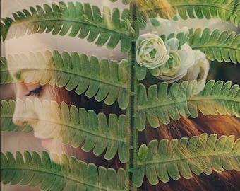 Botanical Fine Art Photo, Girl in the Fern, Double Exposure Photo, Romantic Art, Nature Print, Sage, Whimsical Art, Bathroom Decor, Wall Art