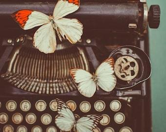 Fine Art Photo, Vintage Typewriter, Typewriter Photo, Still Life Art, Butterflies, Dreamy Art, Letters, Print, Wall Art, Butterfly Art Print
