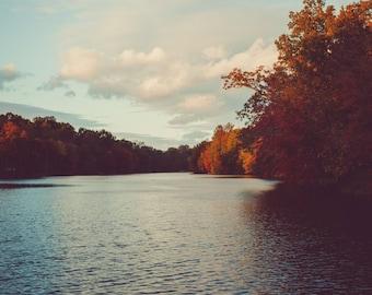 Fine Art Print, Lake Photo, Autumn Lake Scene, Lake Decor, Cabin Art, Maryland Photography, Lake Linganore Art, Fall Trees, Sunset Cloud Sky